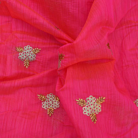 Pink Chanderi Silk Base Fabric With Gold and White Embroidery-60002
