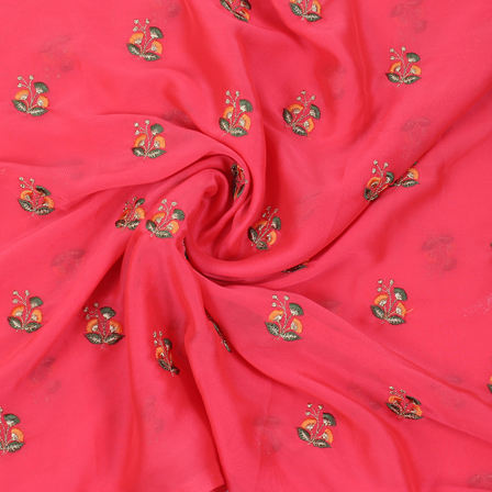 Pink Chiffon Fabric Golden and Green Flower Embroidery-60803