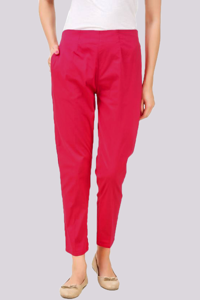 Pink Cotton Flex Pant with Side Chain and Pocket-33395