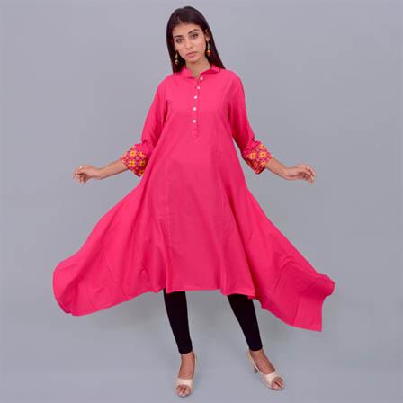 Pink Cotton Kurti With Asymetric-22014