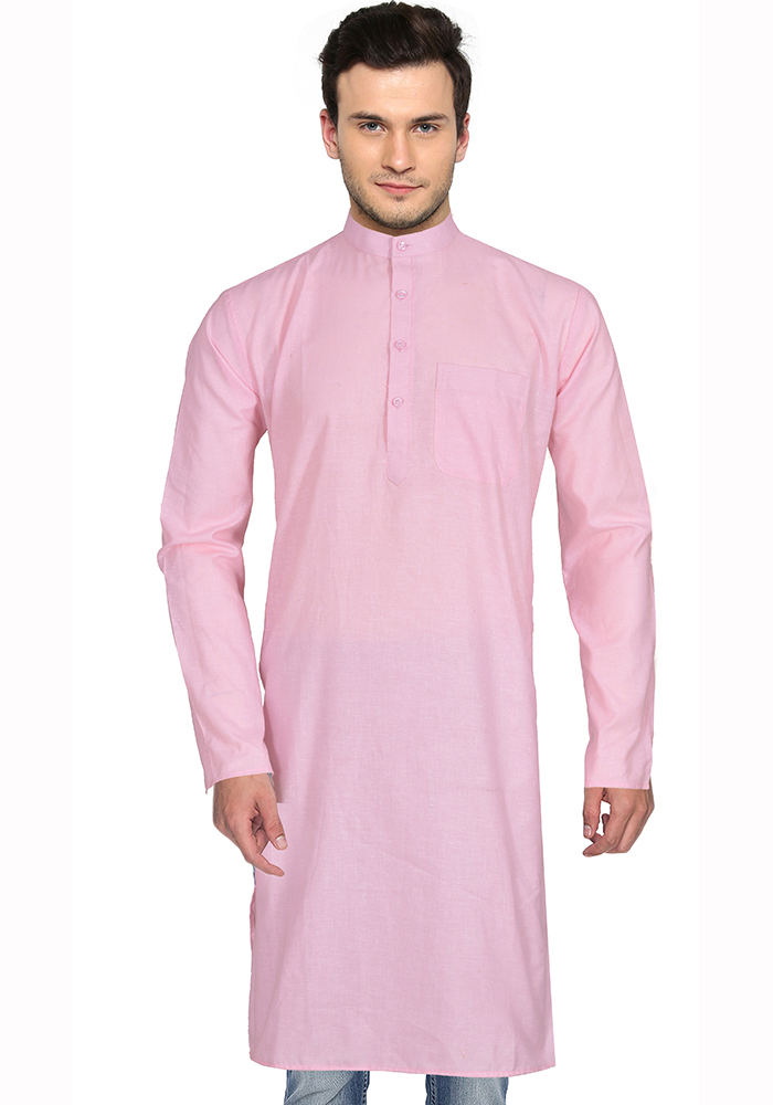Pink Cotton Plain Handloom Khadi Long Kurta-33153