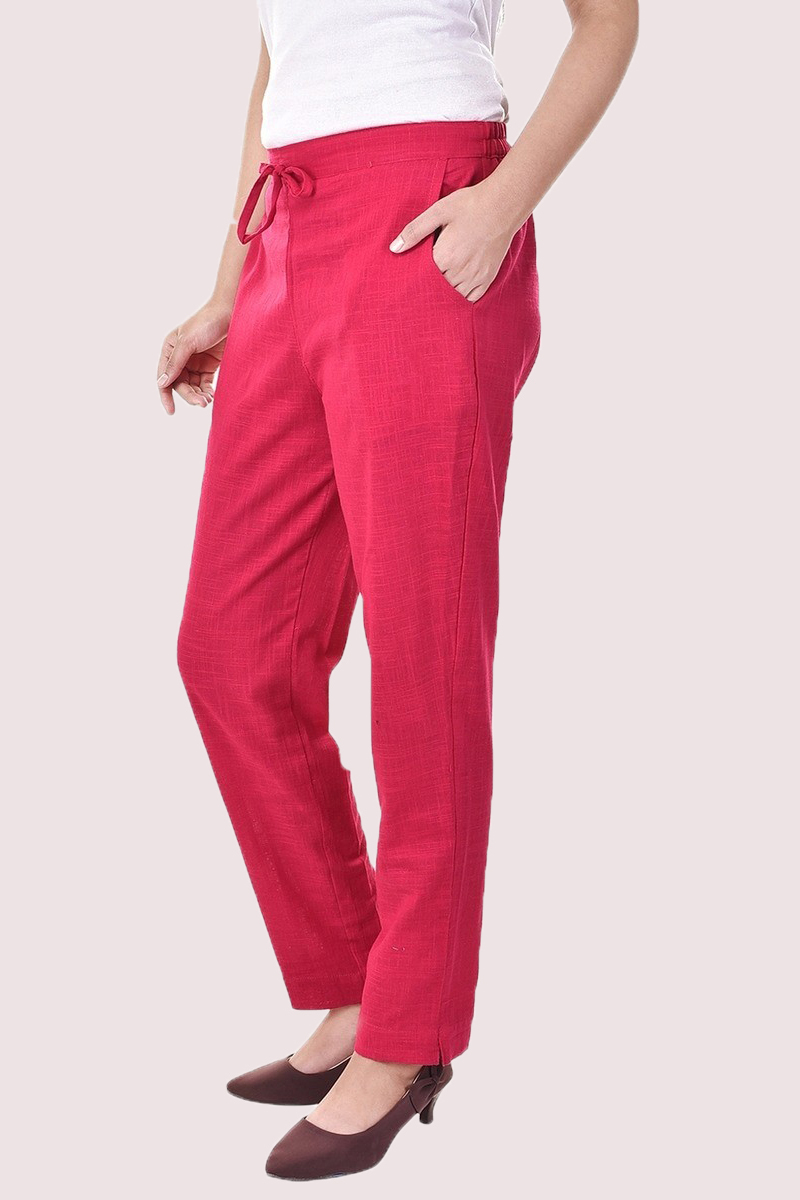 Pink Cotton Slub Solid Women Pant-33300