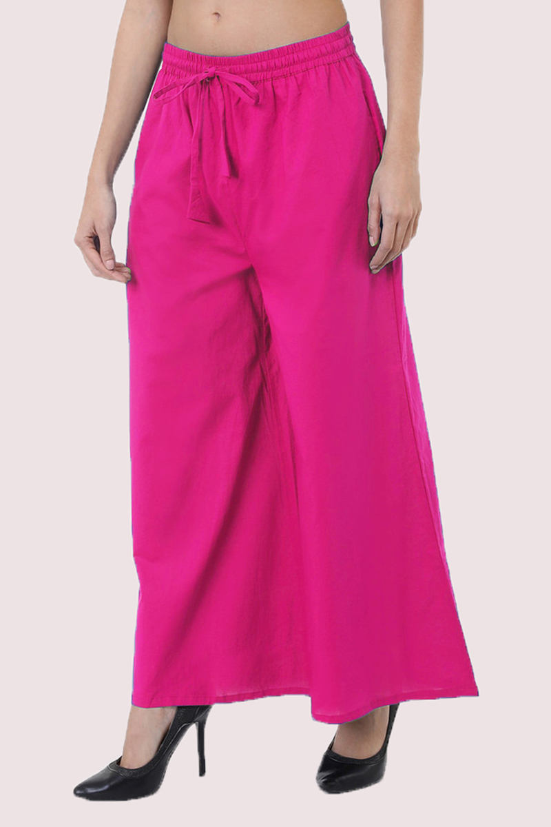 Pink Cotton Solid Women Palazzo-33308