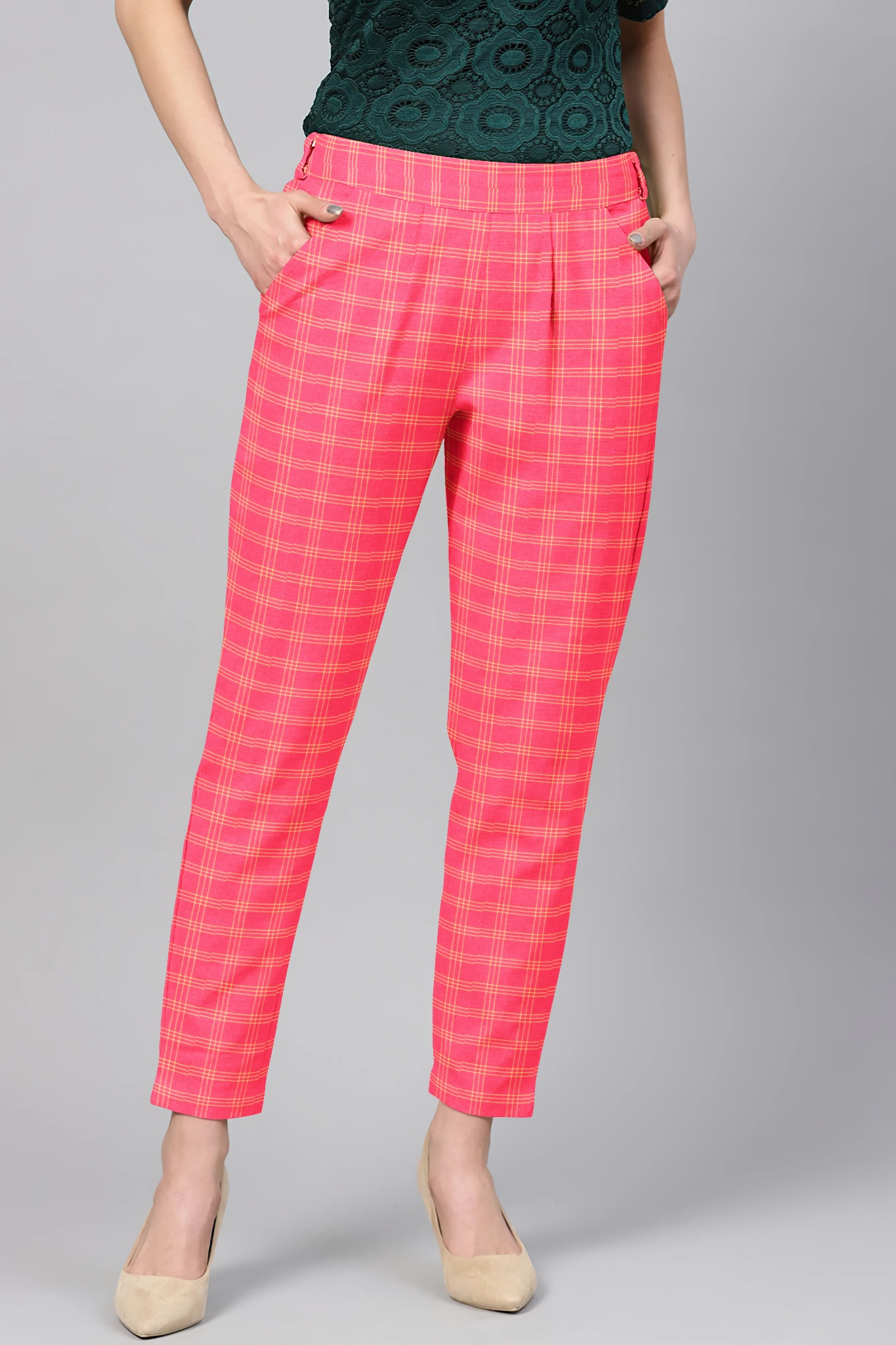 Pink Cream Cotton Check Regular Fit Solid Trouser-36114