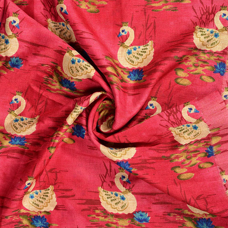 Pink-Cream and Blue Kalamkari Manipuri Silk Fabric-16210