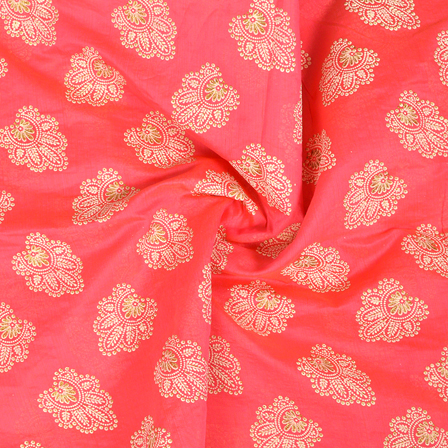 Pink-Cream and Silver Floral Pattern chanderi Silk Fabric-9023