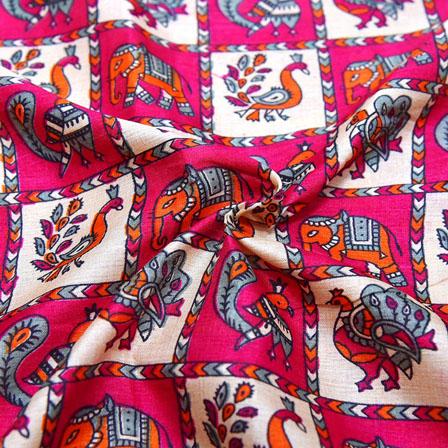 Pink-Cream and Orange Elephant Design Kalamkari Manipuri Silk-16115
