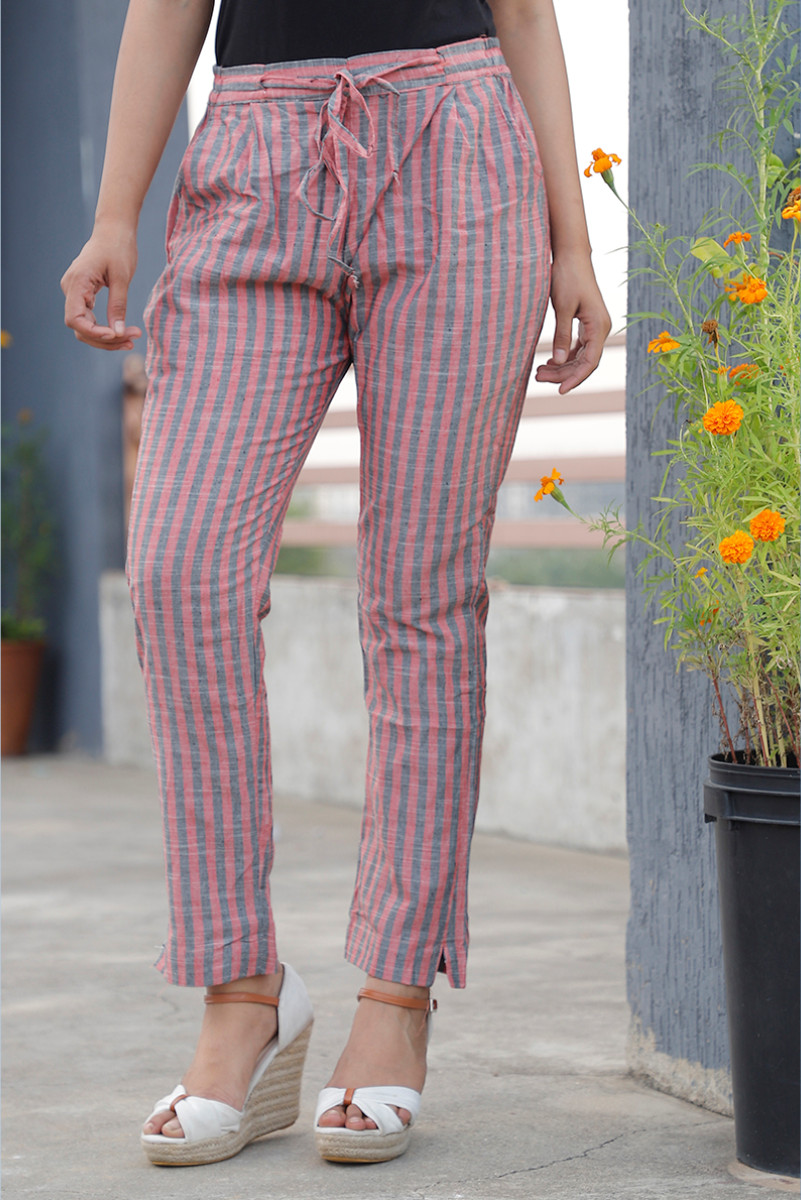 Pink Cyan Cotton Khadi Stripe Pant with Belt-34059