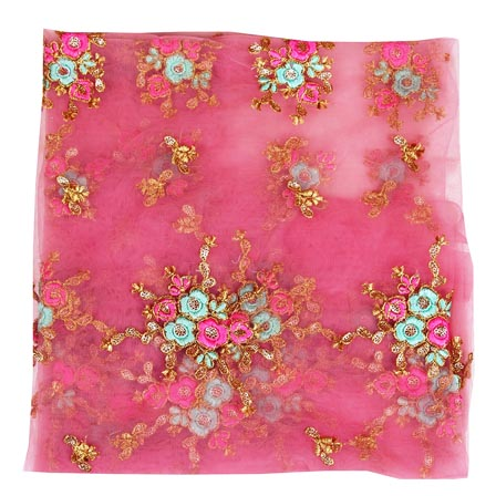 Pink Cyan Floral Embroidery Net Fabric-60991