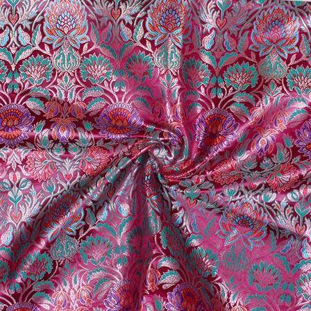 Pink Cyan Kinkhab Banarasi Silk Fabric-9337