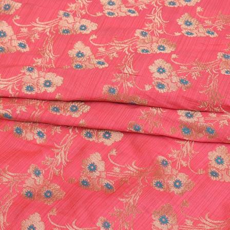 Pink Cyan and Golden Floral Digital Banarasi Silk Fabric-9226