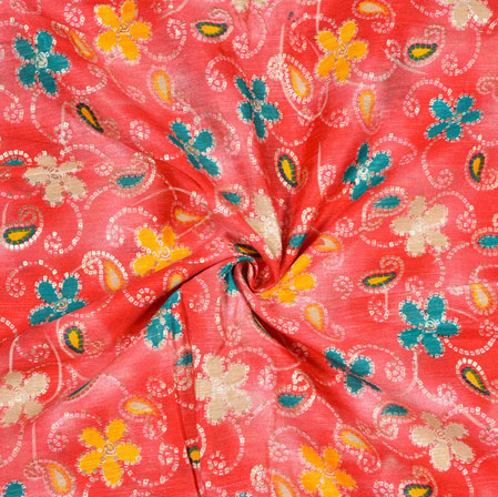 Pink Cyan and White Floral Banglori Silk Print Fabric-12818