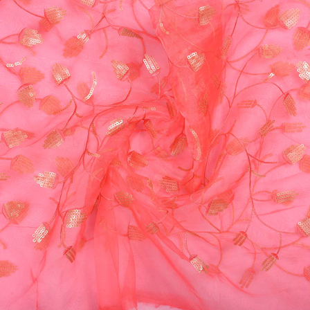 Pink Floral Design Embroidery Organza Fabric-51013
