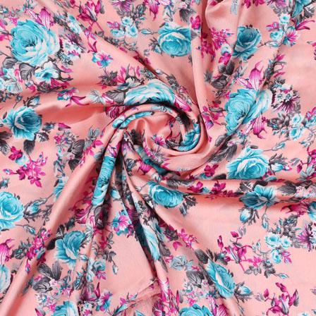 Pink Blue Flower Japan Satin Fabric-18191