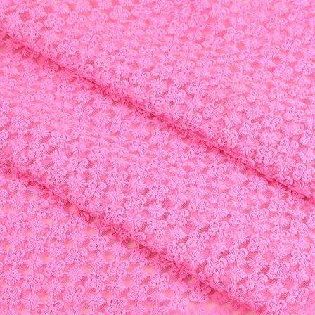 Pink Flower Sequin Net Fabric-60652
