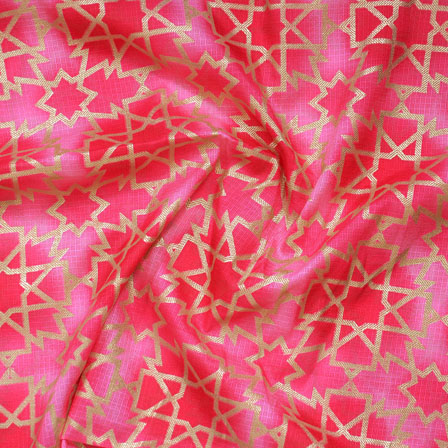Pink Golden Kota Doria Fabric-25137