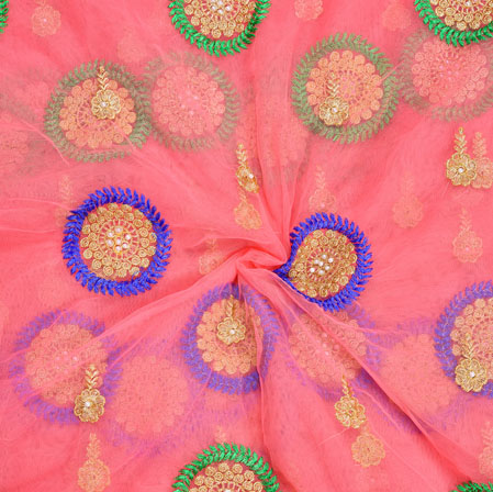 Pink Golden Blue and Green Embroidery Silk Net Fabric-18718