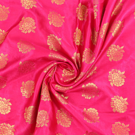 Pink Golden Brocade Satin Silk Fabric-9032
