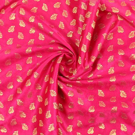 Pink Golden Brocade Satin Silk Fabric-9038