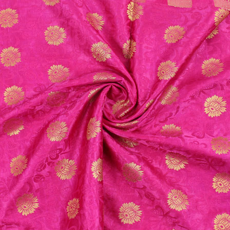 Pink Golden Brocade Satin Silk Fabric-9042