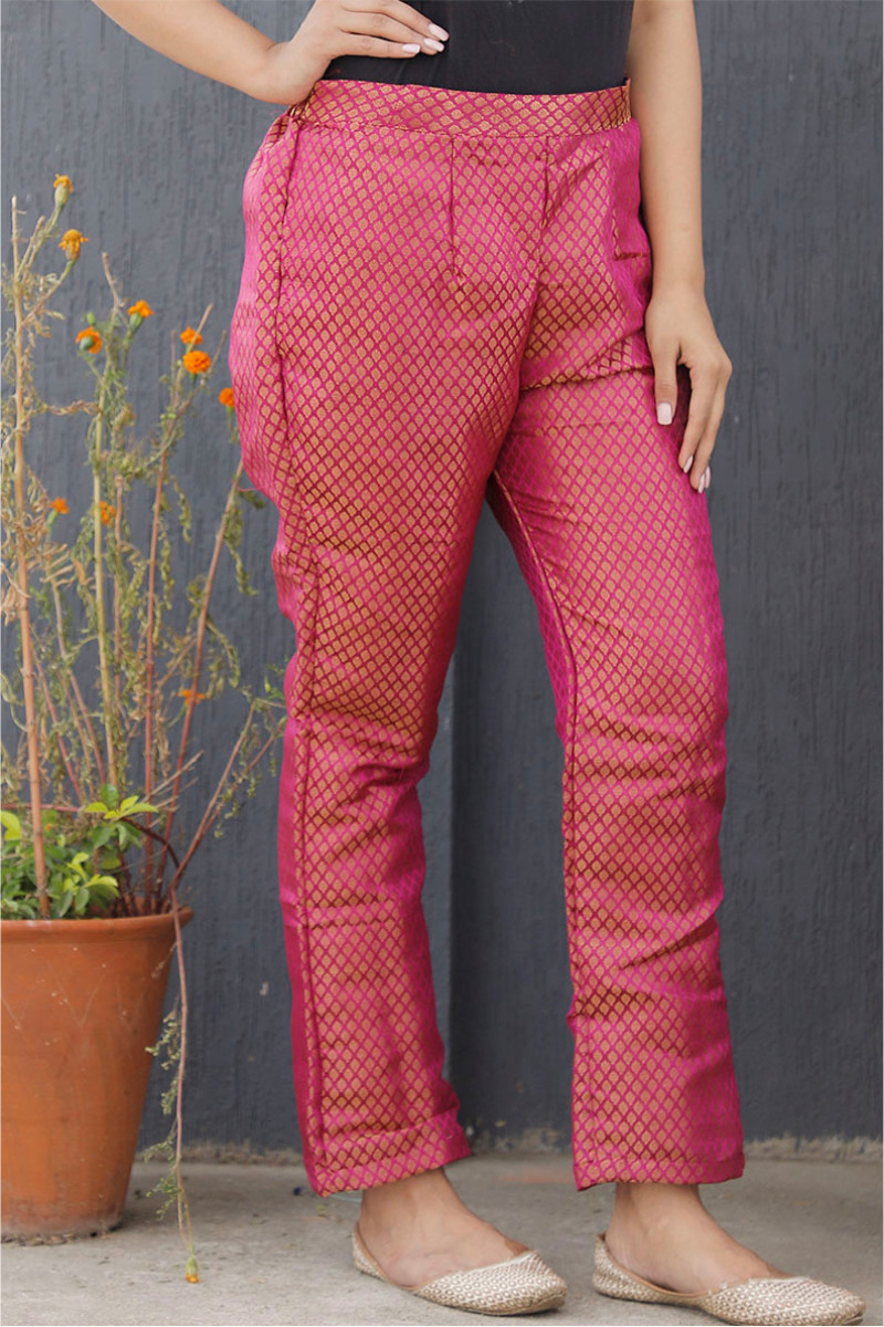 Pink Golden Brocade Silk Ankle Women Pant-34203