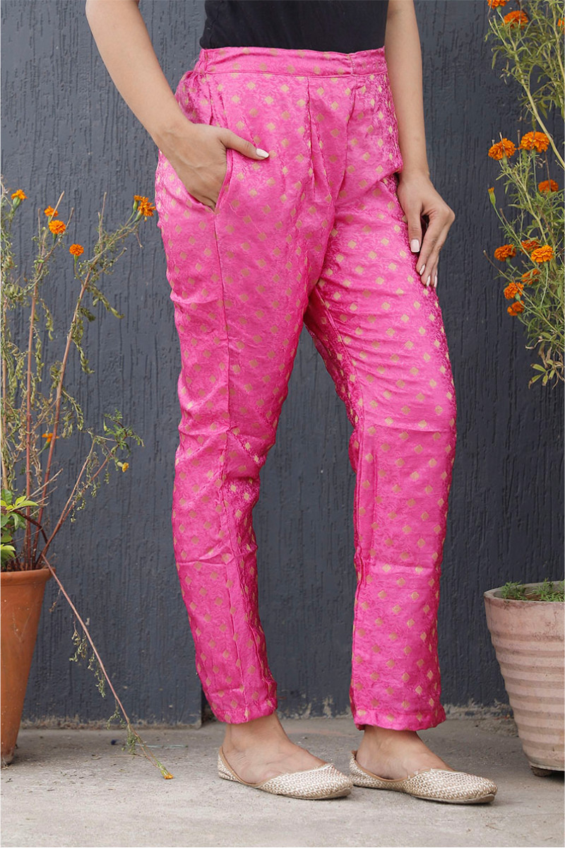 Pink Golden Brocade Silk Ankle Women Pant-34205
