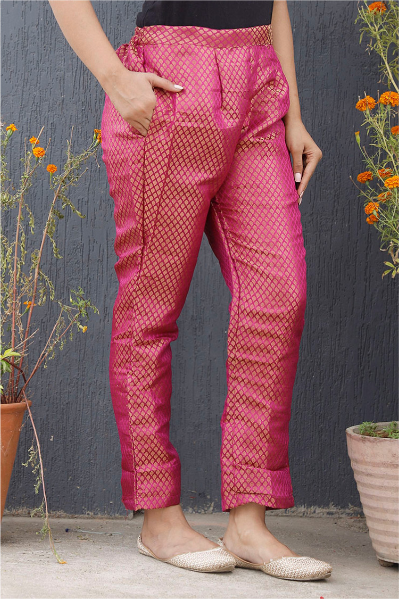 Pink Golden Brocade Silk Ankle Women Pant-34212
