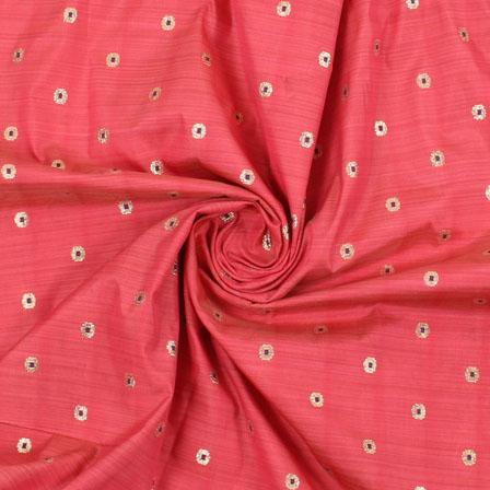 Pink Golden Brocade Silk Fabric-8963