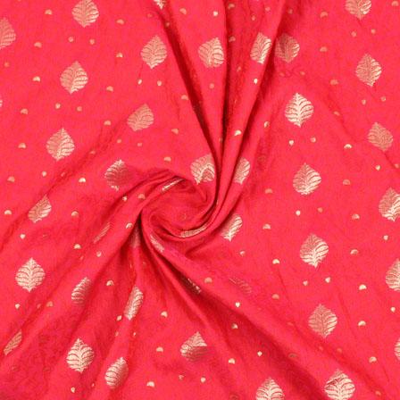 Pink Golden Brocade Silk Fabric-9000