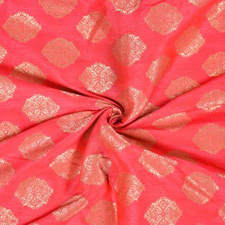 Pink Golden Brocade Silk Floral Fabric-12976
