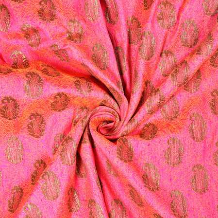 Pink Golden Brocade Silk Paisley Fabric-12985