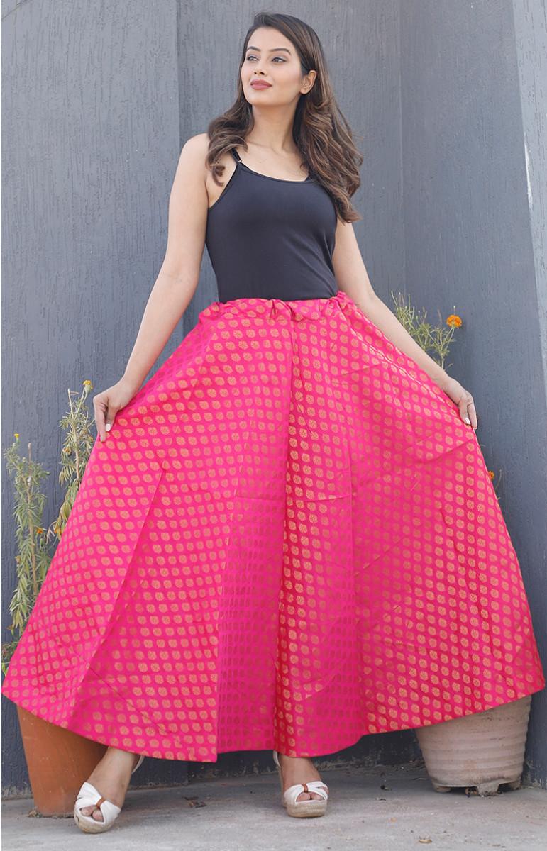 Pink Golden Brocade silk Lehenga-34217-(Free Size)