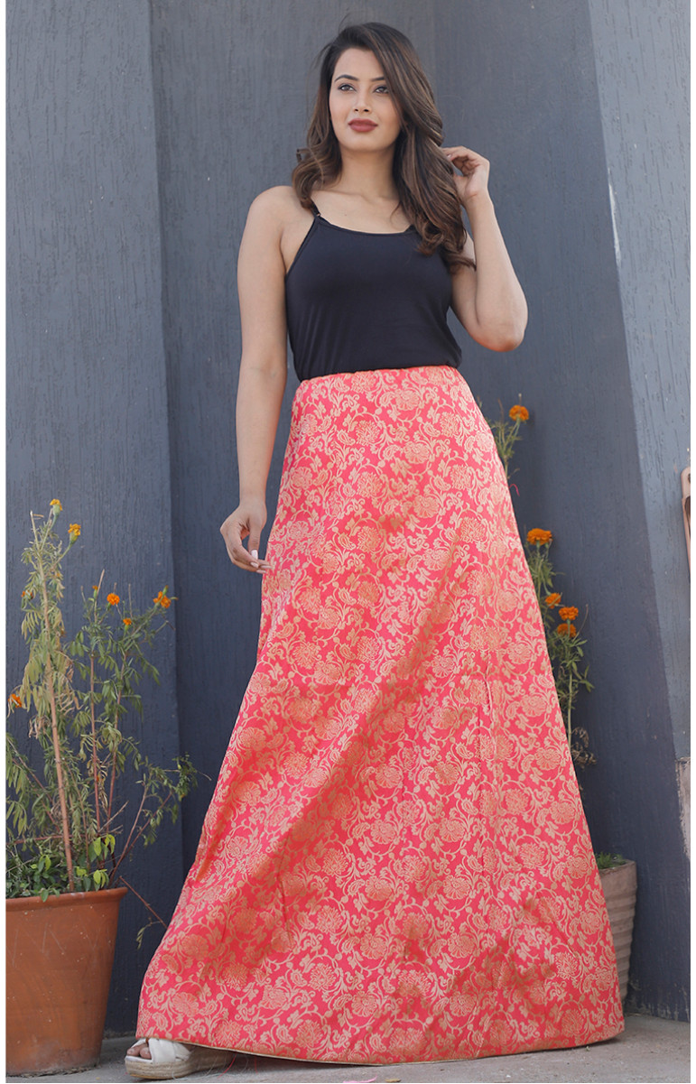 Pink Golden Brocade silk Lehenga-34230-(Free Size)