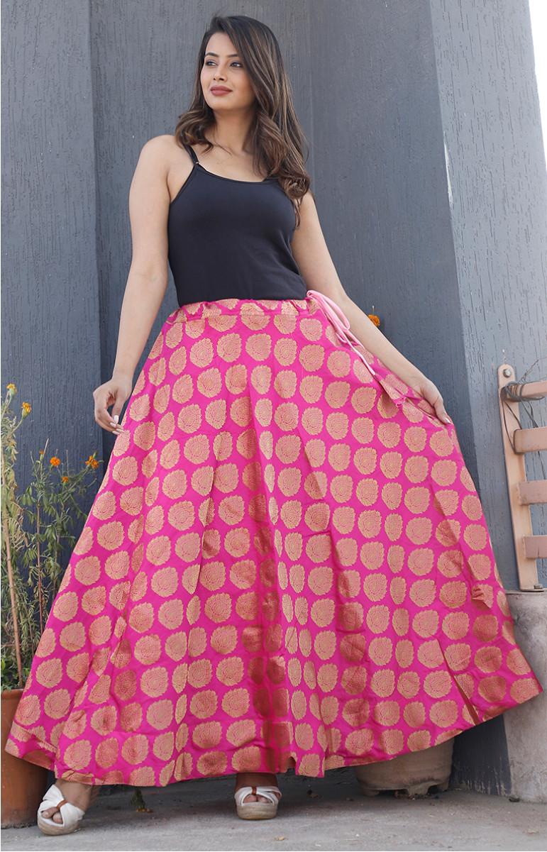 Pink Golden Brocade silk Lehenga-34235-(Free Size)