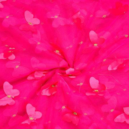 Pink Golden Embroidery Silk Butterfly-Net Fabric-18685