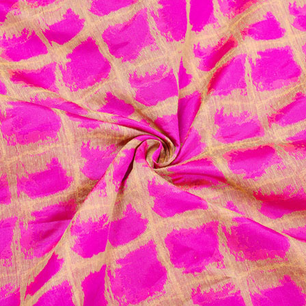 Pink Golden Checks Jaquard SIlk Fabric-12440