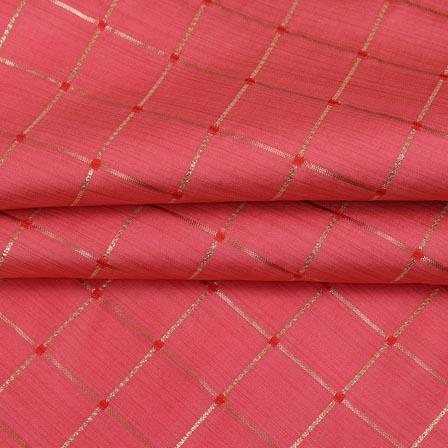 Pink Golden Checks Zari Brocade Silk Fabric-9294