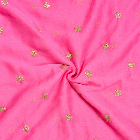 Pink Golden Embroidery Silk Chiffon Fabric-18644