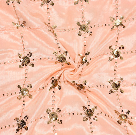 Pink Golden Embroidery Silk Chinon Fabric-18530