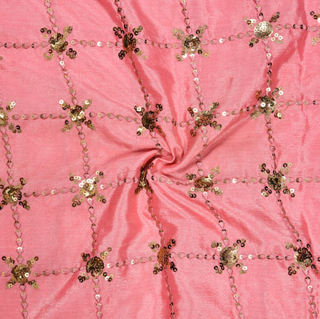 Pink Golden Embroidery Silk Chinon Fabric-18534