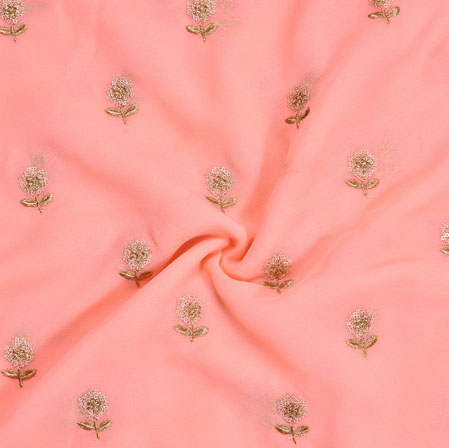 Pink Golden Embroidery Silk Chinon Fabric-18638