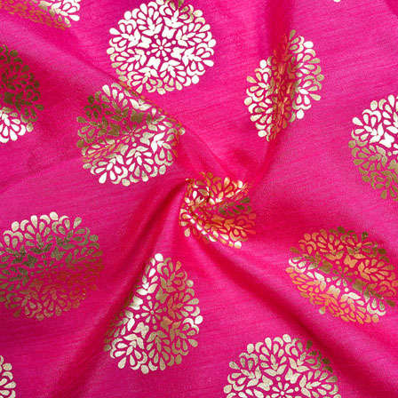 Pink Golden Circle Brocade Silk Fabric-12152