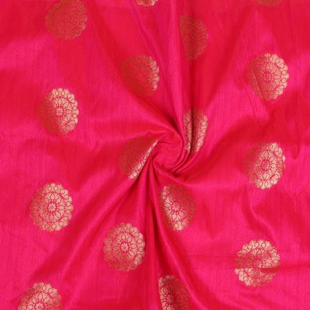 Pink Golden Circle Brocade Silk Fabric-9234