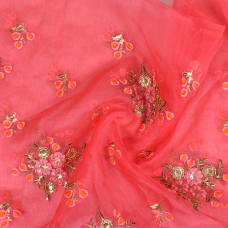 Pink Golden Embroidery Organza Silk Fabric-51646