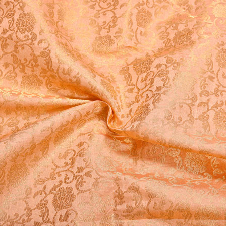 Pink Golden Floral Chanderi Zari Silk Fabric-12445