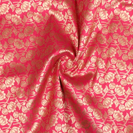 Pink Golden Floral Digital Banarasi Silk Fabric-9199
