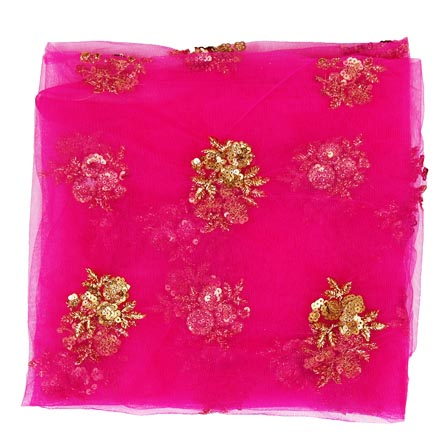 Pink Golden Floral Embroidery Net Fabric-60999