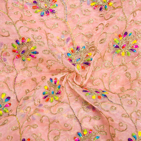 Pink Golden Floral Embroidery Organza Silk Fabric-22014
