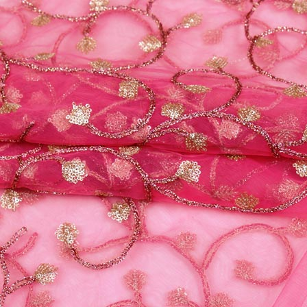 Pink Golden Floral Jaal Embroidery Net Fabric-61001