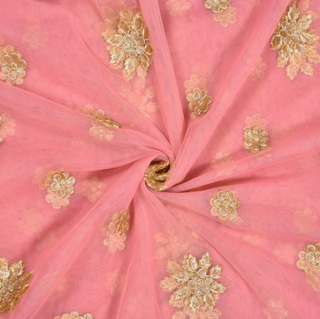 Pink Golden Floral Net Embroidery Fabric-19086